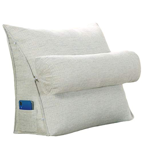 xinke HusbandPillows for Bed Back Support Wedge Pillows Reading Pillow Sofa Bed Office Chair Rest Cushion Throw Pillow (Size:60×50×20cm,Color:white)