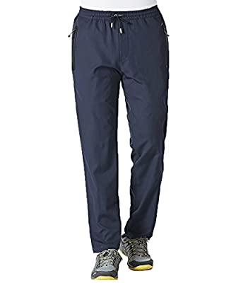 Gopune Men's Outdoor Quick-Dry Lightweight Waterproof Hiking Mountain Pants (Blue,XL)