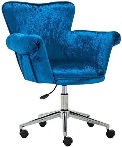 Elegante silla oficina, silla giratoria Silla de estiramiento de franela con ajuste de altura | Silla ergonómica de computadora con ruedas Sillas de escritorio | Adecuado para sala de estar, Café, Azu