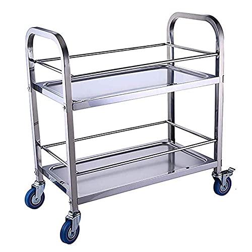 ZQH Utilidad de Acero Inoxidable Rolling Cart Island Trolley Sirviendo Carrera de Alenamiento Carrito de Alenamiento con Ruedas de Bloqueo para Hoteles de Uso Del Restaurante, Estilos Múltiples,a,95