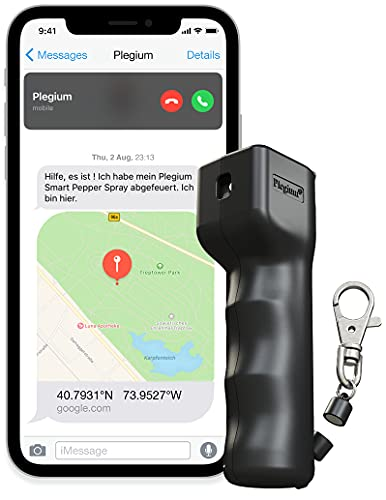 Plegium Smart Mini-Pfefferspray zur Selbstverteidigung. 3-in-1, kostenlose Nachrichten & Notrufe. Schlüsselbund mit magnetischem Schnellverschluss. 3 Meter Reichweite. In Geschenkbox. (Schwarz)