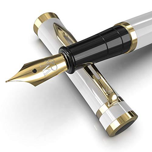 Wordsworth & Black Set di penne stilografiche, Pennino medio, Include 6 cartucce di inchiostro e convertitore di ricarica di inchiostro, confezione regalo, journaling, calligrafia, [Oro bianco]