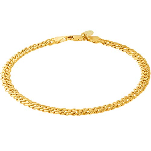 Lifetime Jewelry 5mm Venetian Chain Anklet for Women & Men 24k Real Gold Plated (Gold, 9.0)