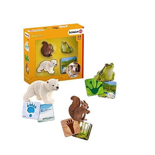 Schleich 42474 Wild Life Spielset - Schleich Lernkarten Wild Life, Spielzeug ab 3 Jahren