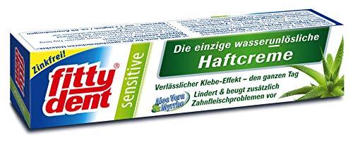 4 x FITTYDENT super sensitive Haftcreme 40 g Paste - Die sanfte Haftcreme die einzig wasserunlösliche Haftcreme mit Aloe Vera & Myrrhe