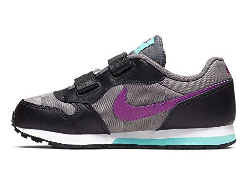 Nike Boys MD Runner 2 (PS) Pre-School Shoe, Scarpe da Campo e da Pista Bambino, Multicolore, Grigio/Viola/Nero/Verde (Gunsmoke Hyper Violet Black Aurora Green 018), 29.5 EU