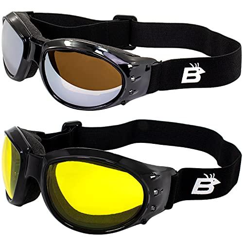 Dos pares Birdz Eyewear Eagle Barón Rojo Estilo Motocicleta Conducción anteojos de Airsoft Amarillo y lente de espejo para el día y la noche comodidad usted debe tener Googles acolchada para cualquier condición de Weather