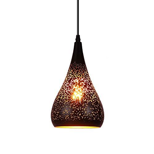 Lightess Industrie Modern Pendelleuchte Hängelampe Hängeleuchte Vintage Schwarz Stilvolle Deckenleuchte E27 Hohl Metall Lampenschirm Exotische Deckenlampe für Esstisch Esszimmer Wohnzimmer usw.