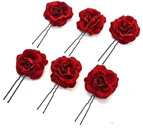 6 Pack Elegant Red Rose Bridal Hair Clips Hair Pins Wedding Women and Girls Hair Accessories Bridesmaids Headpiece