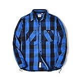 [ヒューストン] ネルシャツ チェックシャツ メンズ 長袖 ( アメカジ 厚手 大きいサイズ )( Mサイズ ブルー )