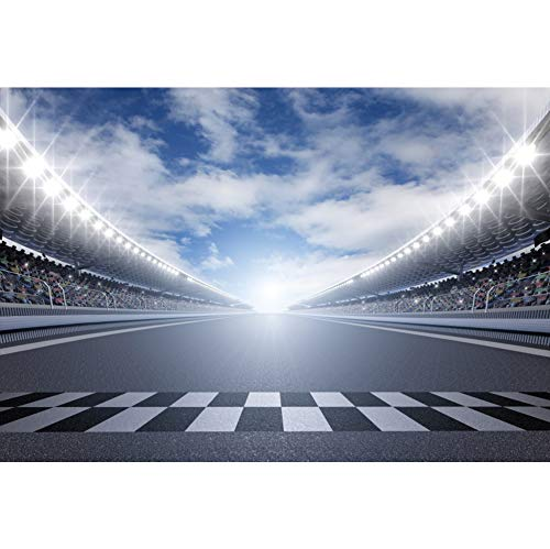 CSFOTO 10x7ft Finish Line Race Track Backdrops for Photography Car Racing Backgrounds Birthday Party Banner Bleachers Auto Motorsport Champion Sport Competition Adults Portrait Wallpaper