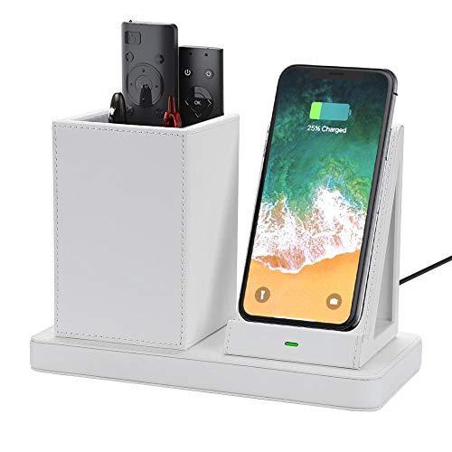 Guerlam 2020 nuevos Cuadros de Almacenamiento de diseño y Soporte de bolígrafo con Soporte de Carga inalámbrica para iPhone/Samsung/Huawei Cargo por teléfono móvil (Color : LS103 White)