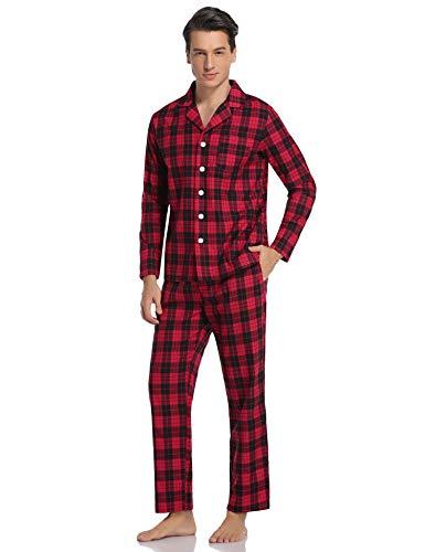 Herren Schlafanzug Kariert Pyjama Set lang mit Bündchen Zweiteiliger aus Baumwolle Nachtwäsche Set mit Freizeithose und Schlafanzugoberteile