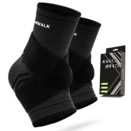 VANWALK Ankle Brace (Pair), Adjustable Ankle Support Compression Socks for Achilles Tendon Support and Plantar Fascitis, Relieve Ankle Swelling Joint Pain (Black, M)