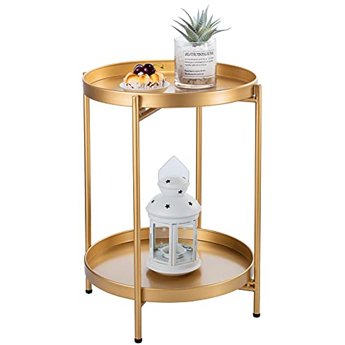 Pokpek Gold Side Table, 2-Tier Metal Round End Table with Removable Tray, Small Accent Table, Circle Bedroom Nightstand, Boho Coffee Table Indoor/Outdoor, Folding Sofa Side Table for Living Room