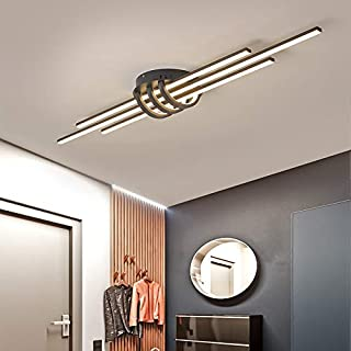 Garwarm Dimmable Ceiling Lighting Fixture, 40W Semi Flush Mount Modern LED Ceiling Lights, Industrial Geometric Linear Bla...