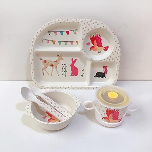 Vajilla de Dibujos Animados, 5pcs / Set Bamboo Kids Weaverware Set - Platos para niños - Placa de Comida tazón Taza Cuchara Cuchara fijamiento Conjunto de vajillas