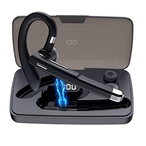 Auricular Bluetooth 5.0, auriculares inalámbricos Bluetooth para teléfonos móviles, con micrófono integrado, manos libres, para casa, conducción, negocios, oficina (negro)
