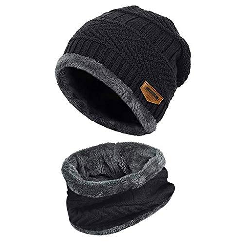 Lazzboy Männer Warme Mütze Winter Verdicken Und Schal Zweiteilige Strickmütze Winddicht Beanie Set Unisex Knit Warmen Hut Skimütze Slouchy(Schwarz)