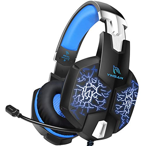YINSAN TM5, Casque PS4 Gaming, Casque Gamer Xbox One avec Microphone Réglable Anti Bruit, Casque Gaming avec RGB LED Lampe Stéréo Basse pour PS4, Xbox One, Switch, PC, Laptop, Tablette, Blue