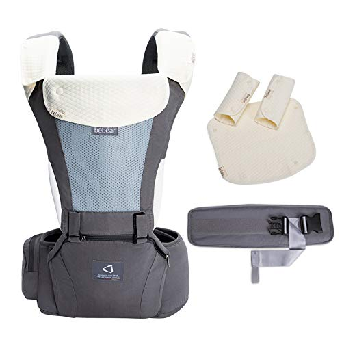 Bebamour Baby Carrier for 0-36Months, Cotton Baby Carrier Backpack for Newborn to Toddler, Approved by Safety Standard, Ergonomic Baby Hip Seat 6 in 1 Front Carrier (Cotton Grey)