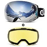 【SET DI OCCHIALI DA SCI】:Il set include 1 occhiali da sci senza cornice e 1 lente staccabile! Con 2 lenti intercambiabili, puoi sciare in qualsiasi condizione meteorologica. Protezione UV 400. Pacchetto include: 1 × Maschera da sci, 1 ×Lente sostitui...