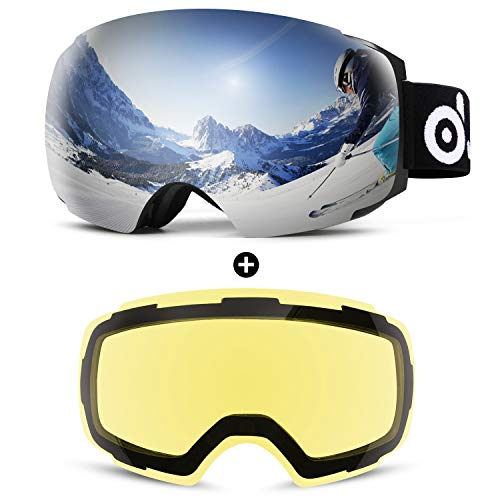Odoland Magnetic Interchangeable Ski Goggles with 2 Lens, Large Spherical Frameless Snow Goggles for...