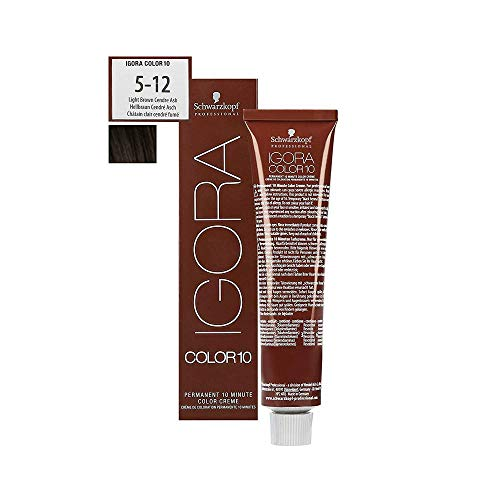 Schwarzkopf Professional Igora Color 10 Permanente Haarfarbe 5-12 Hellbraun Cendre Asch, 60 ml