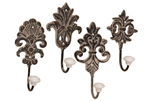 Kleiderhaken Wandhaken Hier: V2 Kleiderhaken Handtuchhaken Landhaus Metall Keramikknauf 4 Stück