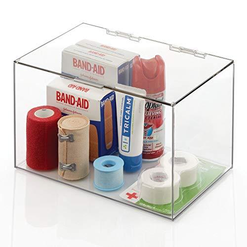 mDesign Organizador de maquillaje – Práctica caja organizadora de plástico con tapa abatible – Organizador de baño apilable para guardar cosméticos y maquillaje – transparente