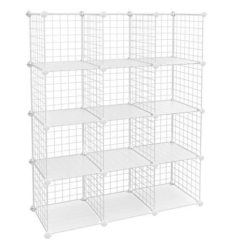 "SONGMICS Metal Wire Cube Storage,12-Cube Shelves Organizer,Stackable Storage Bins, Modular Bookcase, DIY Closet Cabinet Shelf, 36.6""L x 12.2""W x 48.4""H, White"