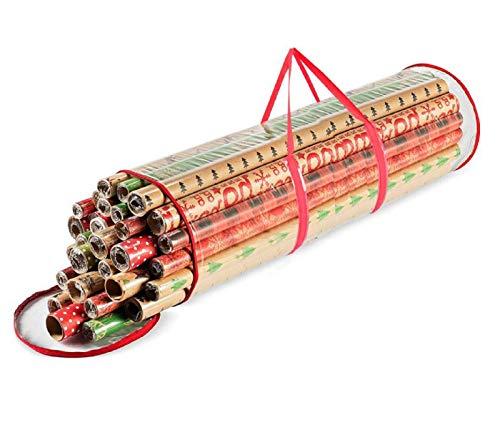 Ram® - Contenitore per carta da regalo con cilindro, colore rosso, trasparente, per Natale, ideale per riporre palline di Natale