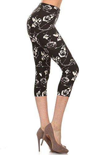 R577-CA-PLUS Rose Sketch Capri Printed Leggings, Plus Size