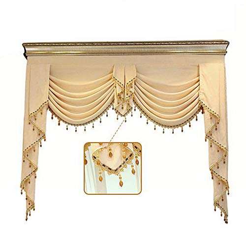 Gxi Customized Beige Chenille Waterfall Valance Swag Fit for Blackout Drape Luxury Curtain Rod Pocket Top Window Treatments Valance for Living Room 1 Panel W59 Inch