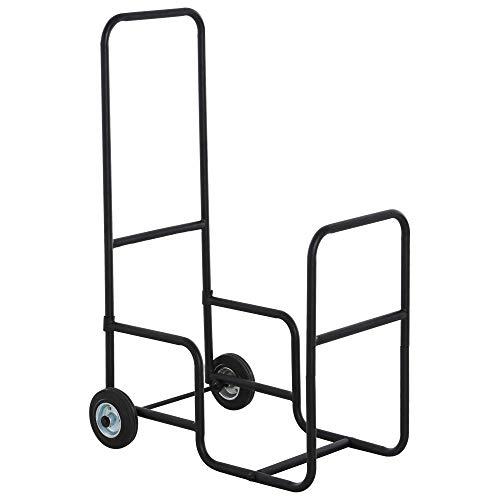 Chariot porte bûches - chariot à bois de chauffage en métal - 2 roues - panier roulant pour bûches à bois noir