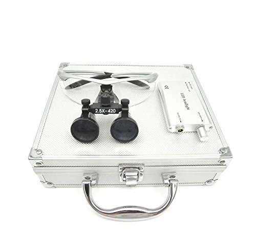 Ocean Aquarius Surgical 2.5X420mm Binocular Loupes Black Loupes and Silver Frame with Portable Led Head Light Lamp +Aluminum Box