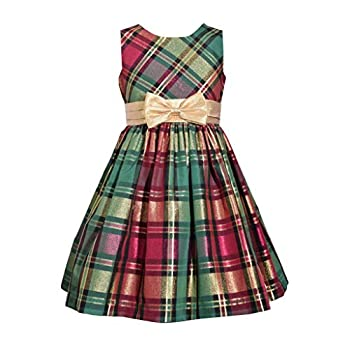 Bonnie Jean Christmas Dress - Holiday Red Green Plaid Dress for Toddler and Little Girls 3T