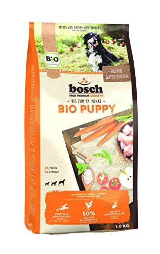 bosch HPC BIO | Puppy Hühnchen & Karotten | Hundefutter für Welpen aller Rassen | 100 % Rohstoffe aus nachweislich biologischem Anbau | 1 x 1 kg