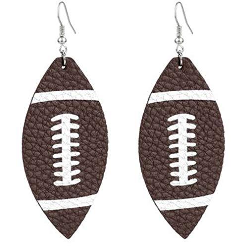 LJLYL Neue Leder-Ohrringe für Frauen Mädchen Teardrop Ohrringe Weihnachten Schmuck Baseball Basketball Fußball-Ohrringe,3