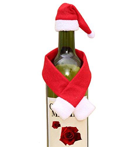 HENGSONG 2 tlg. Set Santa Hut Schal Flaschenkostüm Rot Wein Flaschen Deko Weihnachts Tisch Deko Party Weihnachten Dekoration