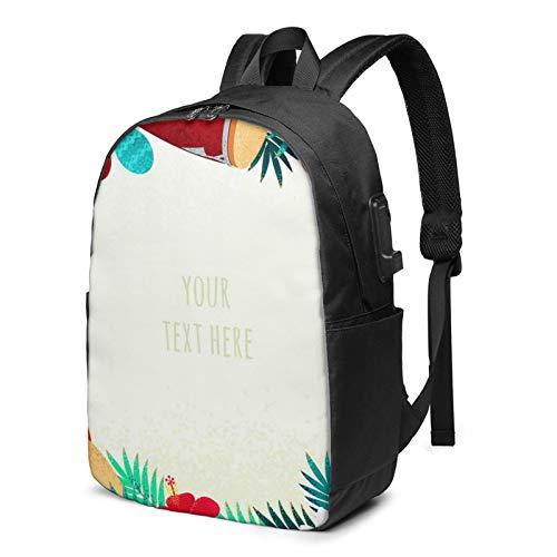 Laptop Rucksack Business Rucksack für 17 Zoll Laptop, Schlagzeug Palm Schulrucksack Mit USB Port für Arbeit Wandern Reisen Camping, für Herren Damen