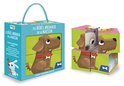 Les bébés animaux de la maison : Cubes empilables et livre