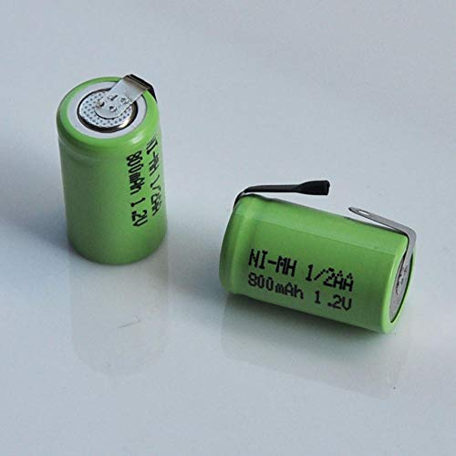 mrwellog Batería Recargable de 1,2 V 1 / 2AA 800 mah 1/2 celda AA con pestañas de Soldadura para maquinilla de Afeitar eléctrica luz solar-10 Piezas
