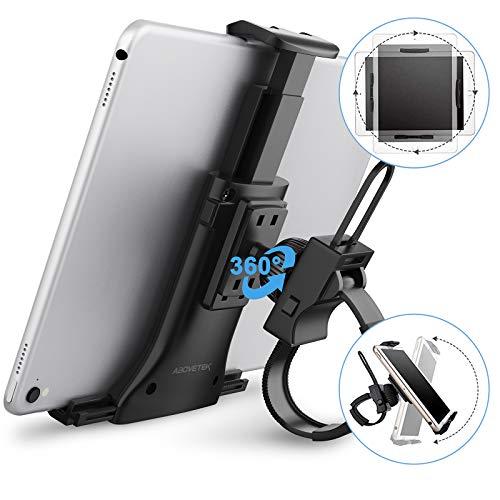 AboveTEK 自転車 ホルダー ハンドルバー iPad iPhone タブレット用 オールインワン ,ユニバーサル サイクリングバイクマウント ジムの室内 ハンドルバー用 耐衝撃 360°回転 対応3.5~12インチ タブレット, アイフォン, アイパッド ミニ エア プロ 拡張可能なポールストラップ 電話ホルダー クレードル 屋内サイクリング ,ジム ,トレッドミル スピンバイク,楕円形