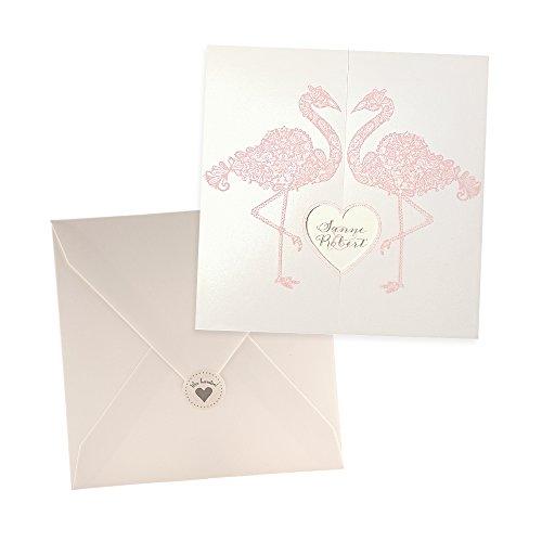 weddix Hochzeit Einladungskarten Tianna mit Flamingos, Creme, Rosa, 3 Stück blanko Hochzeitseinladungskarten mit Umschlag Siegeletikett