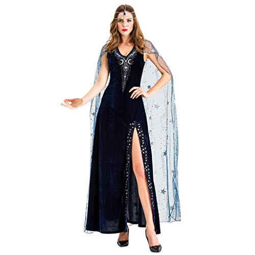 RISTHY Vestidos de Halloween para Mujer Disfraz de Fiesta Cleopatra Cosplay Vestido Largo Vestido Vintage