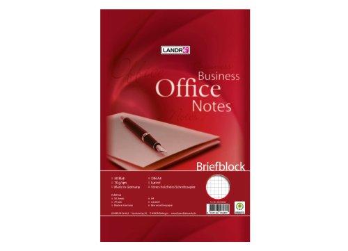 Landre Office Briefblock A4, kariert, 50 Blatt, 10er Pack