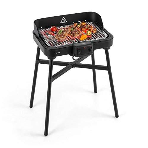 Klarstein Grillkern Elektrogrill - Tischgrill, Standgrill, 1900 + 800 W, 400 °C Grilltemperatur, 3 Hitze-Zonen, ReflectorBoost, platzsparend, kompakt, perfekt für Steak, schwarz