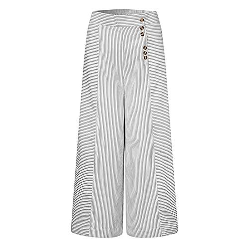 YUHUA-SHOP1983 Pantalones de piernas Anchas de Las Mujeres otoño de Alta Cintura de Bolsillo de la Cintura Casual Pantalon Elegante Palazzo Cintura elástica (Color : White, Size : XXL)