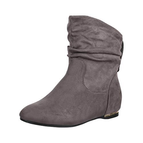 Elara Damen Stiefeletten Boots Keilabsatz Chunkyrayan C270 Grau-40